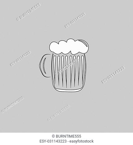 foamy beer Simple line vector button. Thin line illustration icon. White outline symbol on grey background