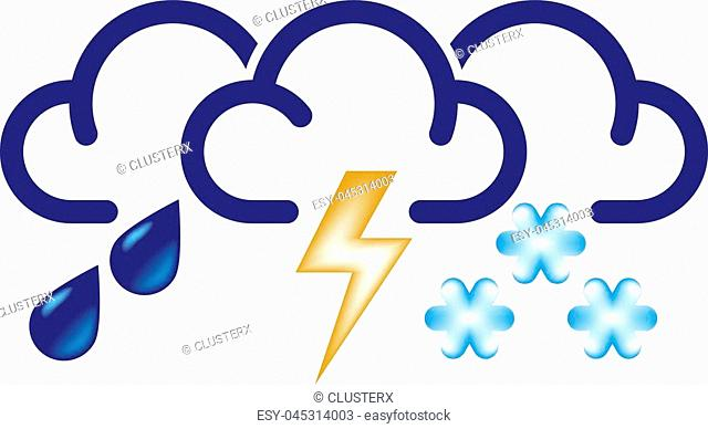 Stylized clouds with raindrops, lightning and snowflakes. All in one bad weather vector icon