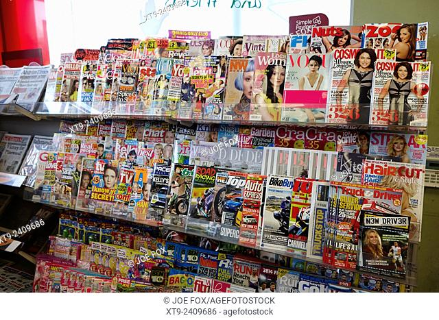 various magazines on sale in a filling station convenience store in northern ireland