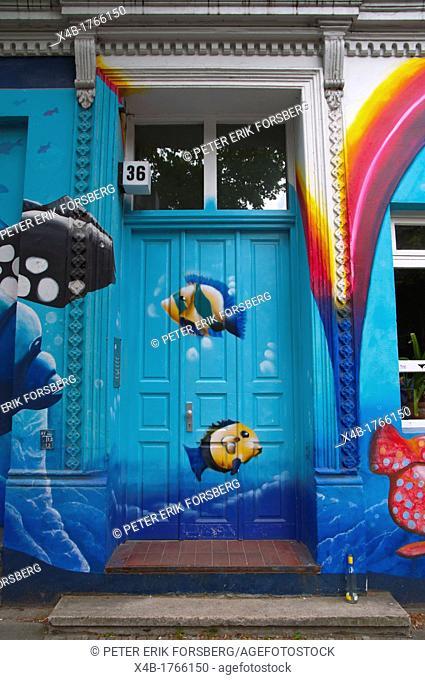 Wall art along Schulterblatt street Sternschanze district Hamburg Germany Europe