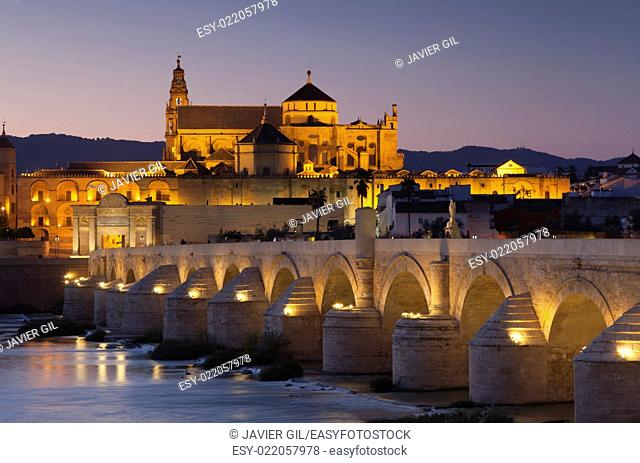 Roman bridge and mosque-cathedral, Cordoba, Andalucia, Spain