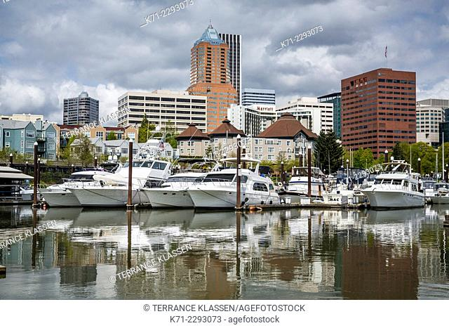 The marina and city skyline in Portland, Oregon, USA