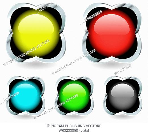 Collection of five round ball icons in a silver bevel shape with drop shadow