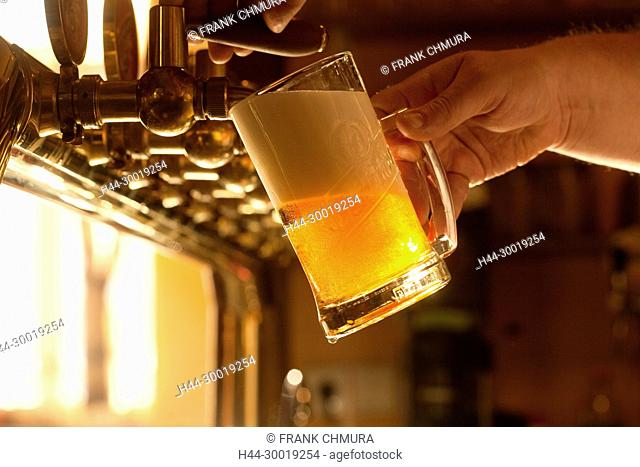 Filling Glass of Beer in a Prague Pub