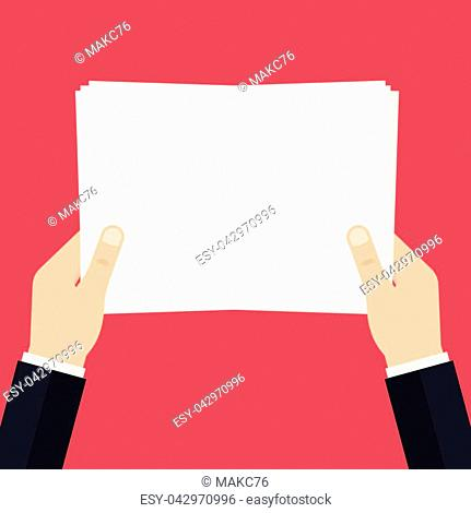 Empty white paper list in the hands. A4 blank sheet list without text. Vector illustration