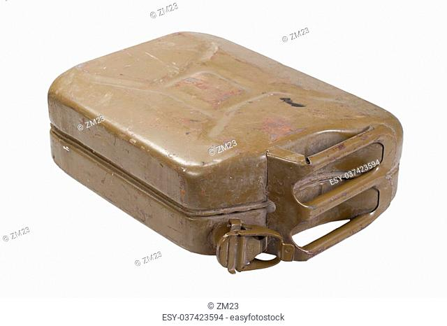 army green jerrycan isolated on white background
