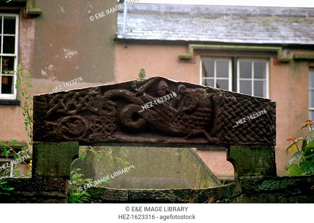 Carved stone from the priory of St Bees, Cumbria. St Bees was the site of a priory established by the Normans early in the 12th century