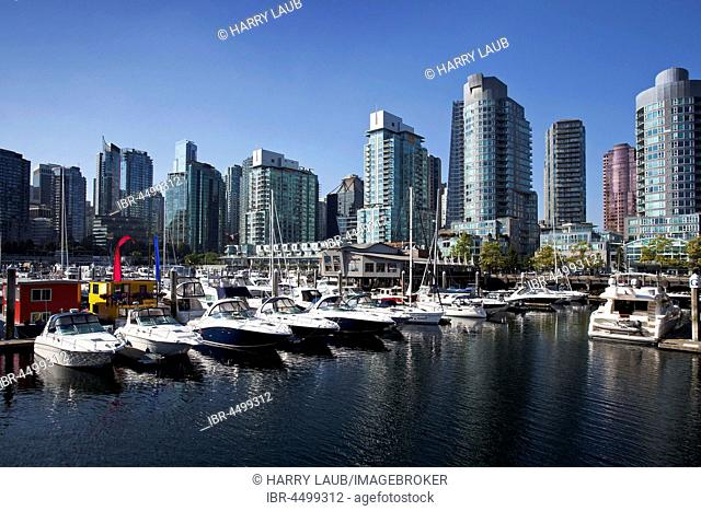 Vancouver Coal Harbor, marina and skyline, Vancouver, British Columbia Province, Canada