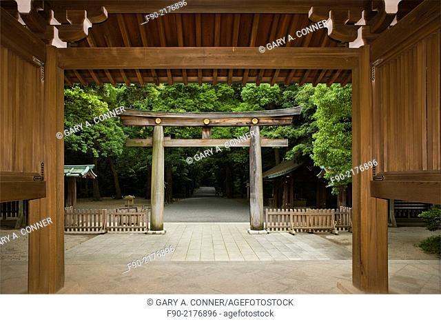 Doorway and tori gate at Meiji Shrine in Tokyo, Japan