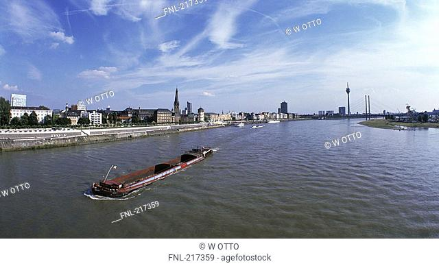 Cargo ship in river