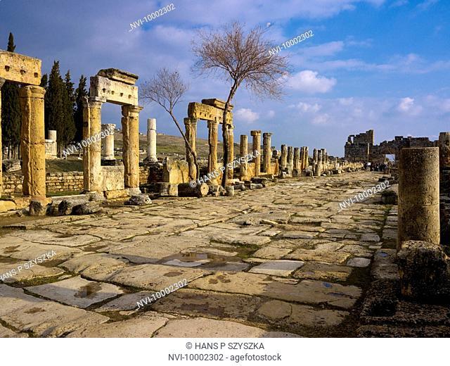 Colonnaded street, Hierapolis, Pamukkale, Turkey