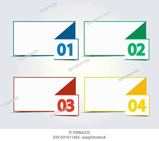 Vector design template with color numbered banners