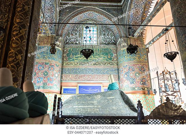 Tomb of Mevlana at Mevlana museum in Konya,Turkey. 28 August 2017