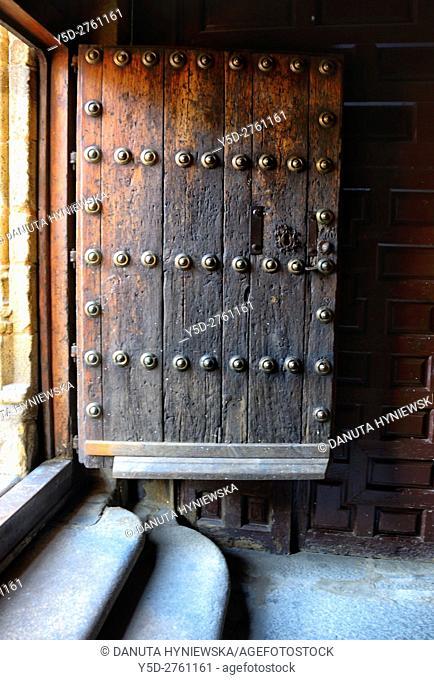 entrance to Santiago church, Caceres, UNESCO, Extremadura, Spain, Europe