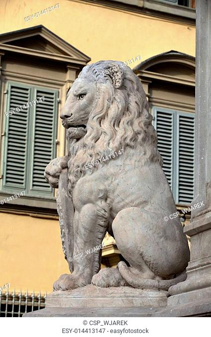 Florence - Lion Marzocco. the lion called marzocco created by donatello in the 15th century is a symbol of the florentine army in the middle age