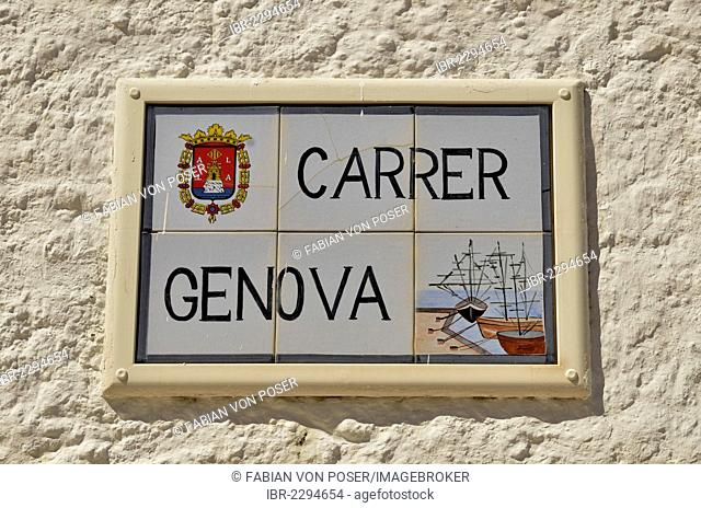 Sign Carrer Genova, Genoa Street, many of the inhabitants of Tabarca come from Genoa, Island of Tabarca, Isla de Tabarca, Costa Blanca, Spain, Europe