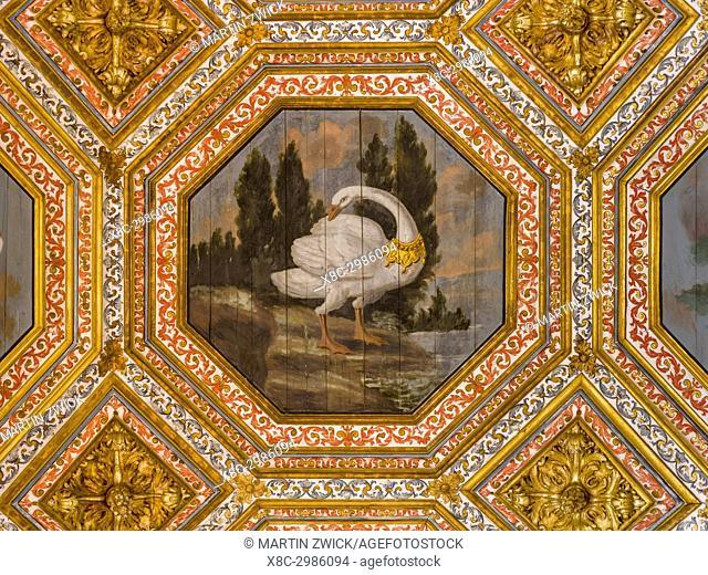 Palacio Nacional de Sintra, the national palace in Sintra, near Lisbon, part of the UNESCO world heritage. The swan hall (Sala dos Cisnes)