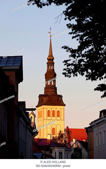 Church steeple overlooking town