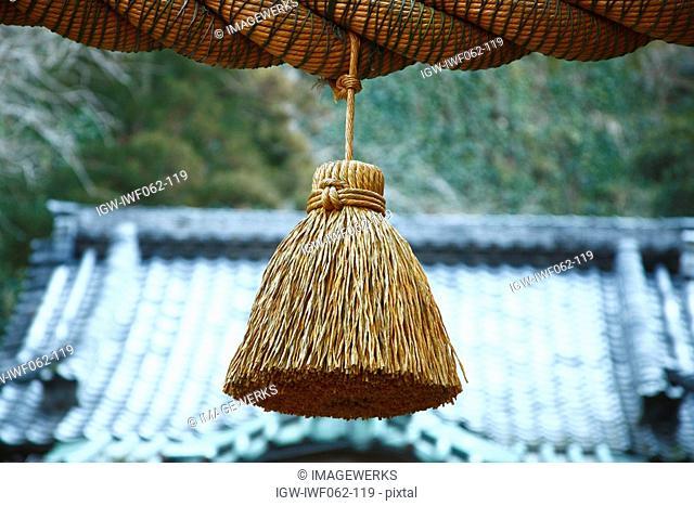Japan, Kanagawa, Sacred straw festoon, close-up