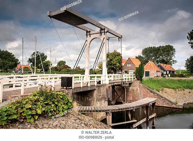 Waterfront bridge and houses, Veere, Zeeland, Netherlands