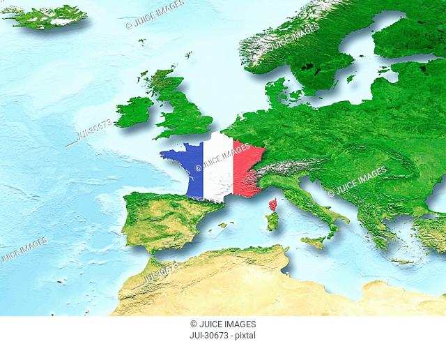 France, flag, map, Western Europe, physical