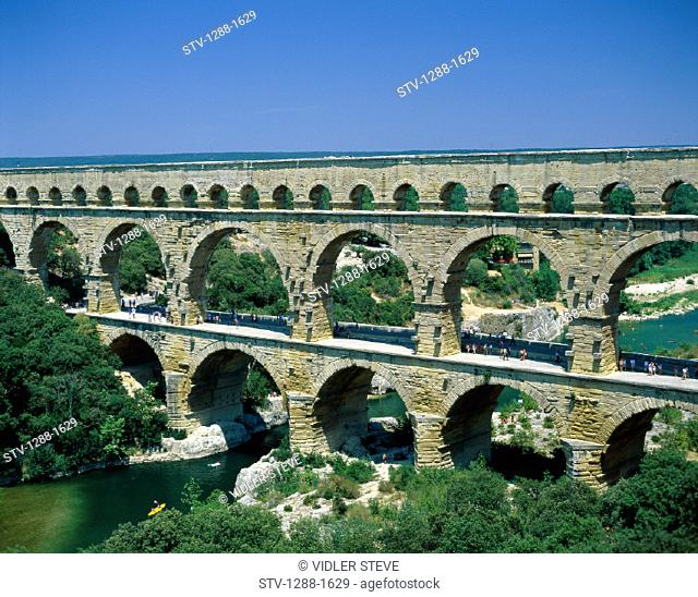 Ancient, Aqueduct, Arches, Architecture, Bridge, France, Europe, Gard, Holiday, Horizontal, Landmark, Nimes, Pont, Pont du gard