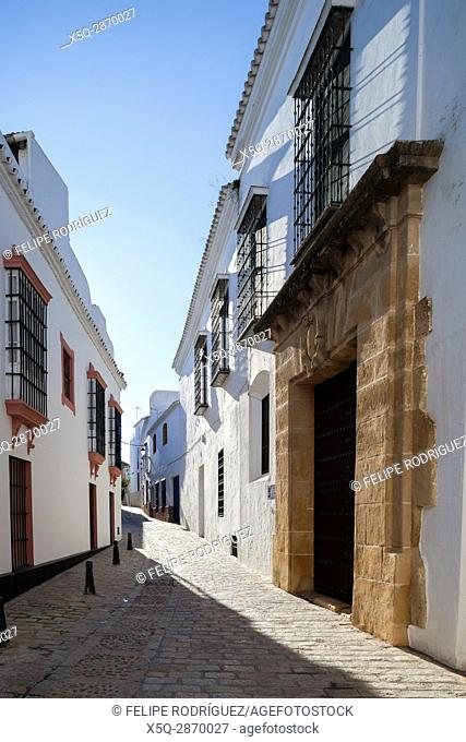 Casa Antigua del Ave Maria, typical Mediterranean architecture with whitewashed walls and narrow streets in the historical city of Carmona, province of Seville