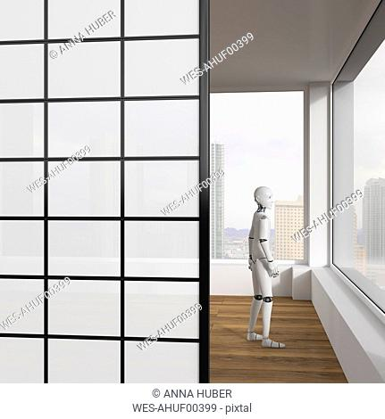 Robot looking out of window, 3d rendering