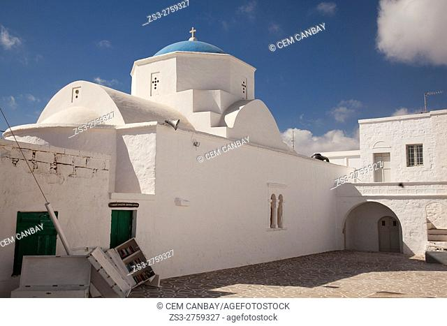 Church of the Dormition of the Virgin in the old town Chora or Chorio, Kimolos, Cyclades Islands, Greek Islands, Greece, Europe