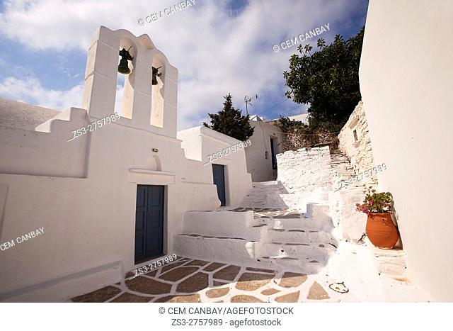 Church in the old town Chora or Chorio, Sikinos, Cyclades Islands, Greek Islands, Greece, Europe