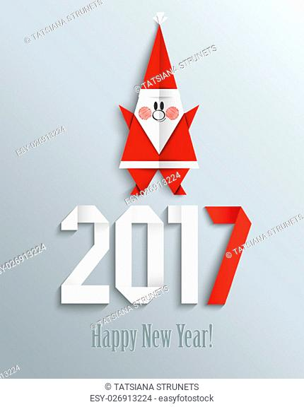 New 2017 year greeting card with Santa made in origami style, vector illustration