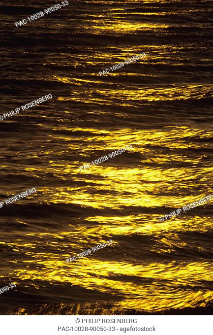 Hawaii, Big Island, Hapuna Bay, Golden light refliecting on ocean surface