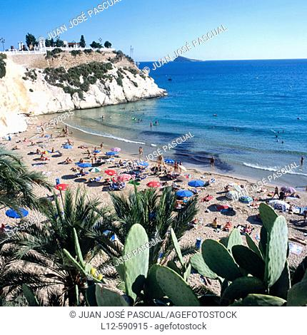 La Caleta beach. Benidorm. Costa Blanca. Alicante province. Spain