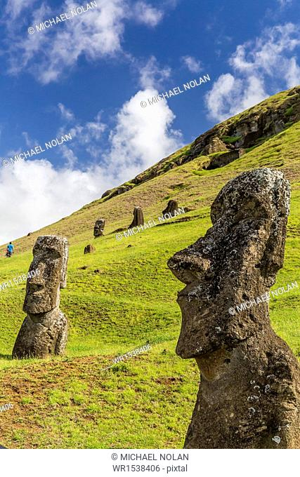 Moai sculptures in various stages of completion at Rano Raraku, the quarry site for all moai on Easter Island, Rapa Nui National Park