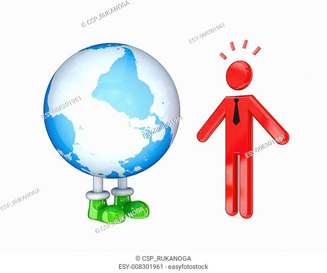 3d small person and the globe