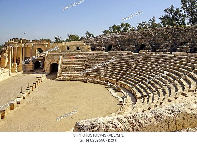 Bet Shean Roman theatre, Israel, dating from the first century CE. During the Hellenistic period Bet Shean had a Greek population and was called Scythopolis