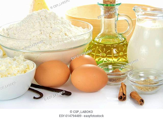 Spices, eggs, cottage cheese, flour, oil