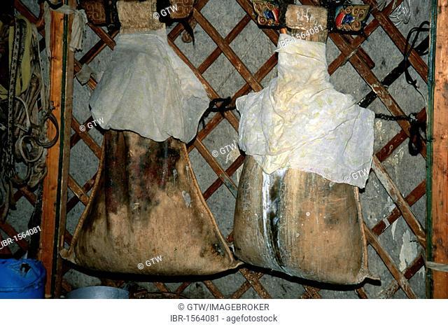 Skins filled with fermented milk, Gobi desert, Mongolia, Asia