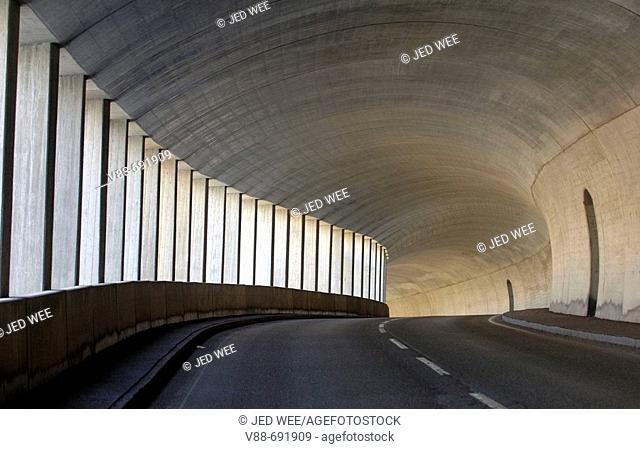 Road tunnel in the Salzkammergut mountains near Hallstatt, Austria