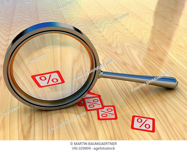 Magnifying glass and percentage symbols. - 03/11/2006