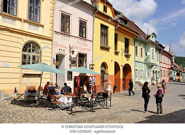 restaurant terrace, Cetatii square, Old Town, Sighisoara, Transylvania, Romania, Southeastern and Central Europe