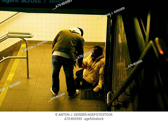 USA, New York City, beggar, subway, Manhattan