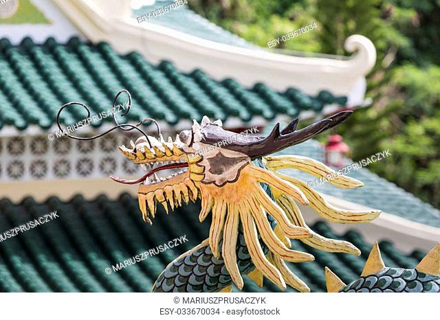 Pagoda and dragon sculpture of the Taoist Temple in Cebu, Philippines