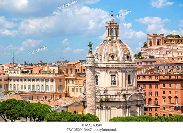 Trajan Column and The Church of the Most Holy Name of Mary at the Trajan Forum, Rome, Italy
