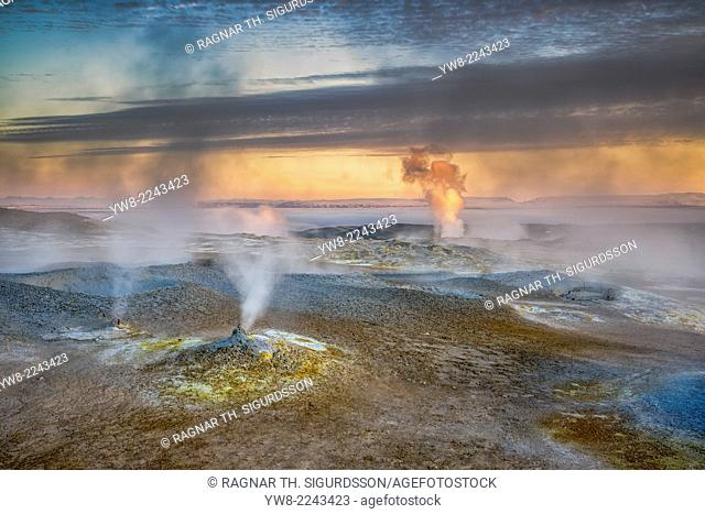 Geothermal hot springs, mud pots and fumaroles, Namaskard close to Lake Myvatn, Northern, Iceland