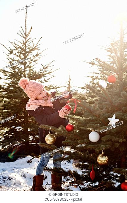 Girl putting baubles onto forest christmas tree
