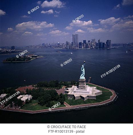 View to the liberty statue to the twin towers and town, New York, America