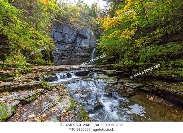 Eagle Cliff Falls on McClure Creek in Havanna Glen Park in the town of Montour Falls in the Finger Lakes Region of New York State