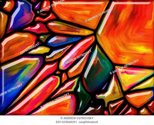 Goblin Glass series. Backdrop design of colorful stained glass pattern for works on imagination, creativity and art