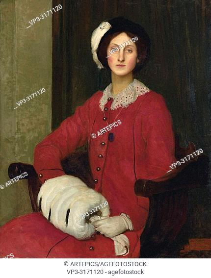 Watson George Spencer - Hilda Spencer Watson in a Red Coat and with a Fur